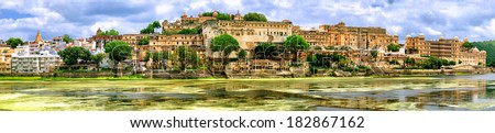 Panoramic view of City Palace in Udaipur, India - stock photo