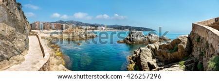 Panoramic view of coastline at Lloret de Mar. Costa Brava, Catalonia, Spain - stock photo