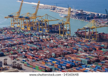 Panoramic view of containers in a harbour of Barcelona <this version does NOT contain logos> - stock photo