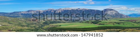 Panoramic view of Coyhaique, Patagonia, Southern Chile, South America - stock photo
