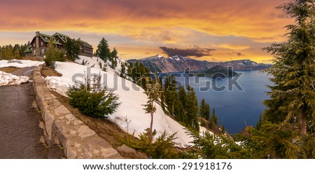 Panoramic View of Crater Lake and the Historic Crater Lake Lodge - stock photo