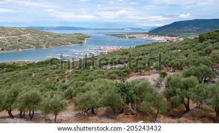 Panoramic view of Cres marina and town in Croatia - stock photo