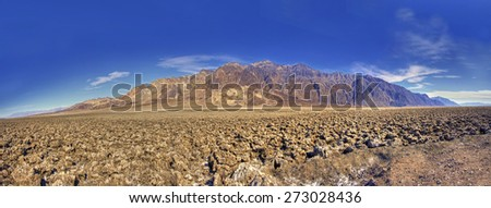 Panoramic view of Devils Golf Course in Death Valley California USA - stock photo