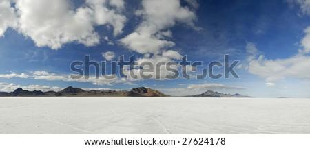 Panoramic view of distant mountains in Great Salt Lake Desert, Western Utah - stock photo