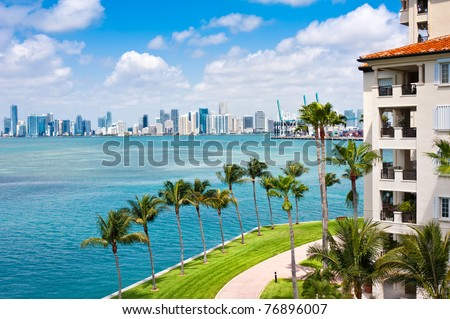 Panoramic view of Downtown Miami and Biscayne Bay with waterfront balconies. - stock photo