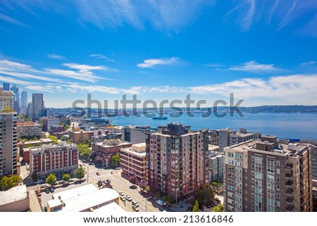 Panoramic view of downtown of Seattle during summer time, Washington state. View of bay, skyscrapers - stock photo
