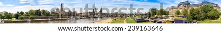 Panoramic view of Dresden in a beautiful summer day - stock photo