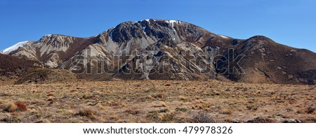 Panoramic view of eroded Mountains at Castle Hill in the Southern Alps of New Zealand.