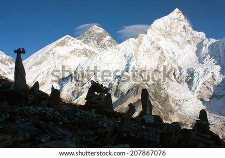 Panoramic view of Everest and Nuptse from Kala Patthar vith stone mans - way to everest base camp - Nepal  - stock photo