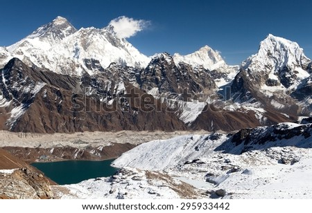 Panoramic view of Everest, Lhotse, Makalu and Gokyo Lake from Renjo La pass - way to Everest Base camp, Three passes trek, Khumbu valley, Sagarmatha national park, Nepal - stock photo