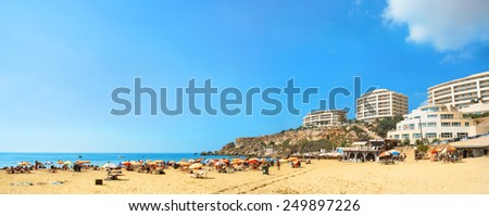 Panoramic view of famous beach Golden Bay in Malta    - stock photo