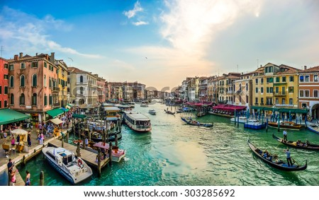 Panoramic view of famous Canal Grande from famous Rialto Bridge in Venice, Italy - stock photo