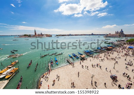 Panoramic view of famous Canal Grande in Venice, Italy, Europe - stock photo