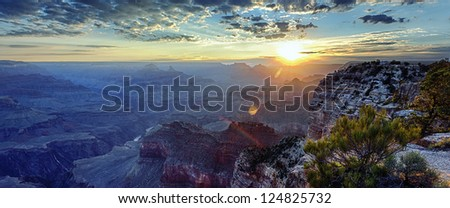 panoramic view of famous Grand Canyon at sunrise, USA - stock photo