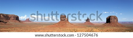 panoramic view of famous Monument Valley, USA - stock photo