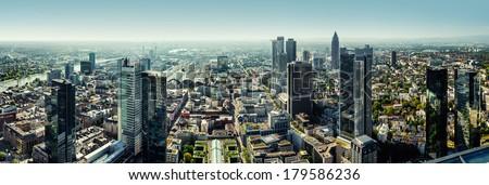 Panoramic view of Frankfurt am Main city, Germany  - stock photo