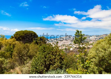panoramic view of Funchal in Madeira - stock photo