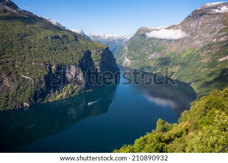 Panoramic view of Geiranger fjord, Norway. - stock photo