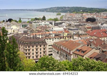 panoramic view of Geneva, Switzerland from Cathedral Saint Pierre - stock photo