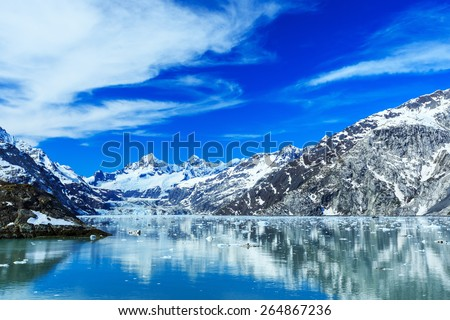Panoramic view of Glacier Bay national Park. John Hopkins Glacier with Mount Orville and Mount Wilbur in the background. Alaska - stock photo