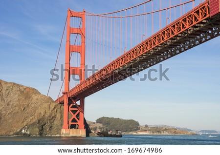 Panoramic view of Golden Gate bridge in San Francisco - stock photo