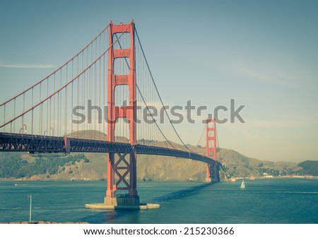 Panoramic view of Golden Gate brige in San Francisco - stock photo