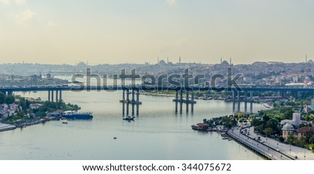 Panoramic view of Golden Horn from Eyup-Pierre Loti Point in Istanbul city, Turkey - stock photo