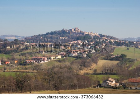 Panoramic view of Gradara, Marche - Italy.