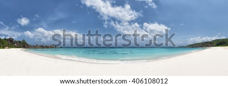 panoramic view of grand anse beach la digue island seychelles - stock photo