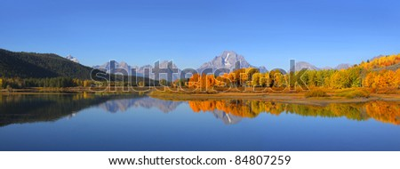 Panoramic view of Grand Tetons national park in Autumn time
