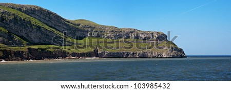 """Panoramic view of """"Great Orme"""" in Llandudno, Wales - stock photo"""