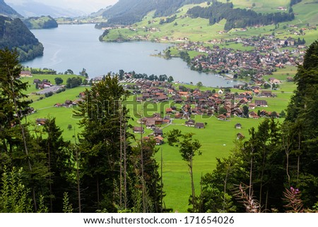 Panoramic view of Grindelwald Village, Switzerland - stock photo