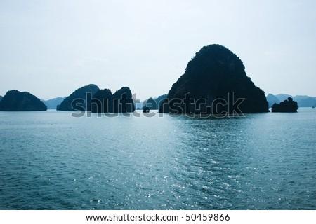 panoramic view of Ha long Bay, Vietnam - stock photo