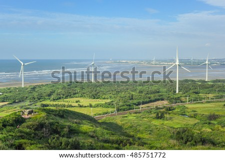Panoramic view of  Haowangjiao with Wind Power Generators along the Beach, Miaoli, Taiwan