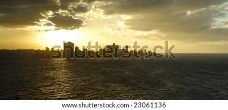 Panoramic view of Havana skyline at sunset