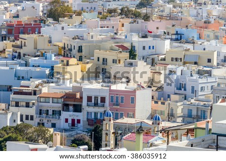 Panoramic view of Hermoupolis town, Syros, Greece. Neoclassical architecture.
