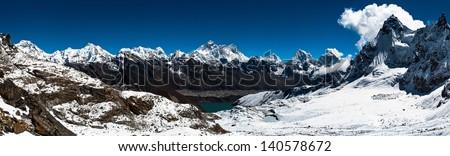 Panoramic view of Himalaya peaks: Everest, Lhotse, Nuptse and others. Trekking in Himalaya. Ultra high resolution - stock photo