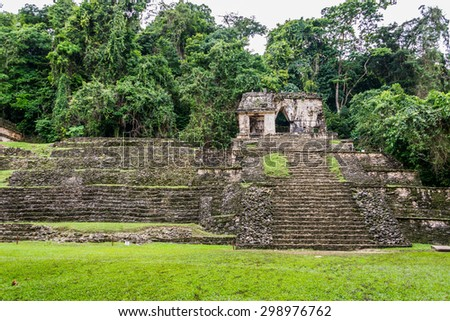 Panoramic View of Historic Mayan Site. Traveling Through Chiapas, Mexico.