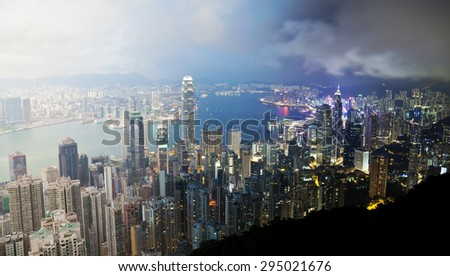 Panoramic view of Hong Kong from day to night - stock photo