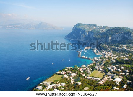 Panoramic view of Isle of Capri - stock photo