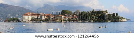 Panoramic View of Isola Bella on Lago Maggiore in northern Italy