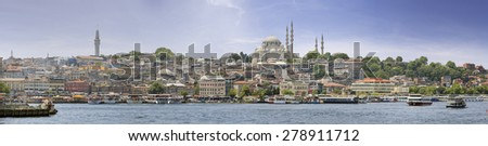 panoramic view of istanbul - stock photo