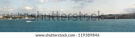 Panoramic View of Istanbul and bosphorus from Topkapi palace. Extra large panorama - stock photo