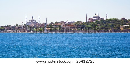 Panoramic view of Istanbul Sultanahmet district with famous Mosques - stock photo