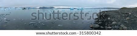 Panoramic view of Jökulsárlón glacier - stock photo