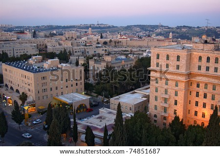 Panoramic view of Jerusalem - stock photo