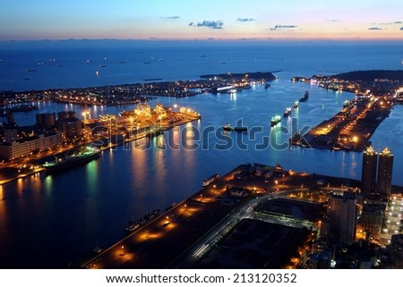 Panoramic view of Kaohsiung Port and Chijin Island at Dusk  - stock photo