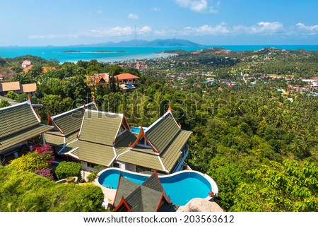 Panoramic View of Koh Samui Thailand - stock photo