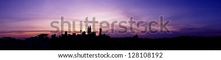 Panoramic View of Kuala Lumpur Cityscape the Federal Capitol and most populous city in Malaysia during sunset - stock photo