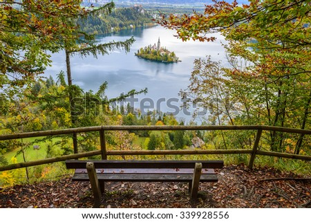 Panoramic view of Lake Bled, Slovenia - stock photo